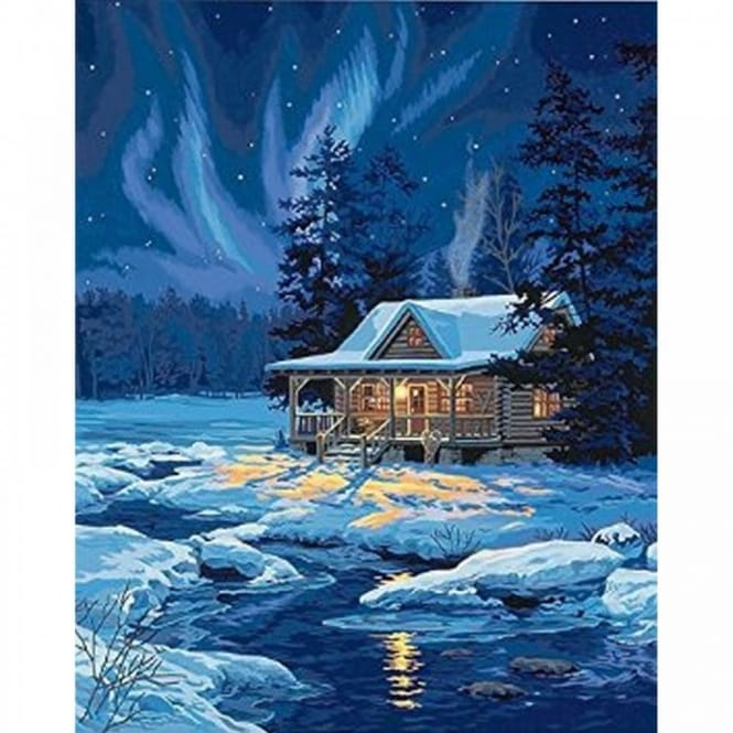 Moonlit Cabin Paint by Numbers
