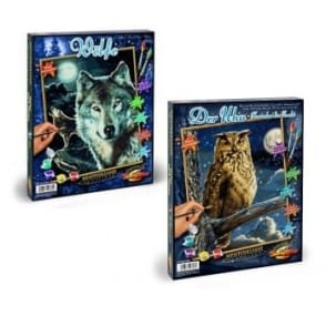Paint by Numbers Night Hunters - Owl and Wolf Bundle