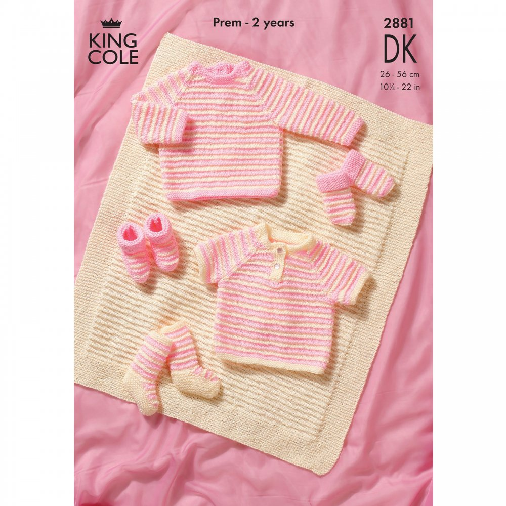Blanket Knitting Pattern Books : Pattern 2881 - Sweaters, Blanket and Accessories - King Cole from CraftyArts....