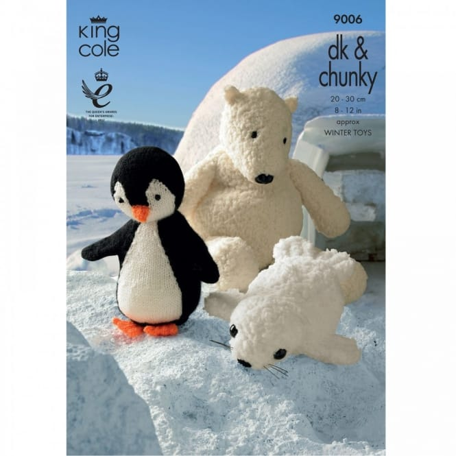 Pattern 9024 - Penguin, Polar Bear and Seal Soft Toys