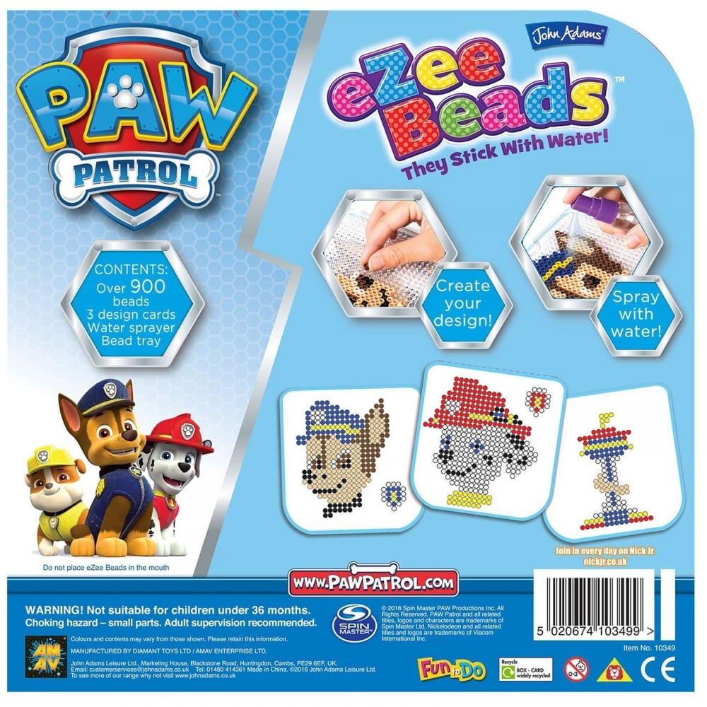 Ezee Beads Paw Patrol John Adams Craft Playset Over 900 beads Make 3 Designs New