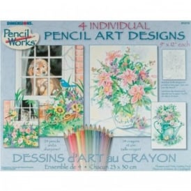 Pencil Art Designs Set of 4