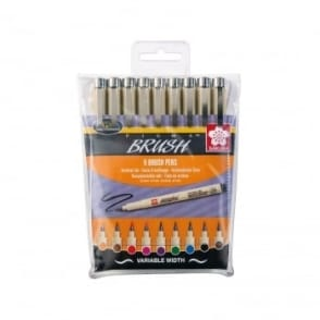 Pigma Brush Pens - Set of 9 Colours