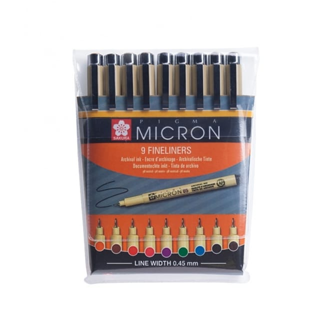 Pigma Micron Fineliners - Set of 9 Colours