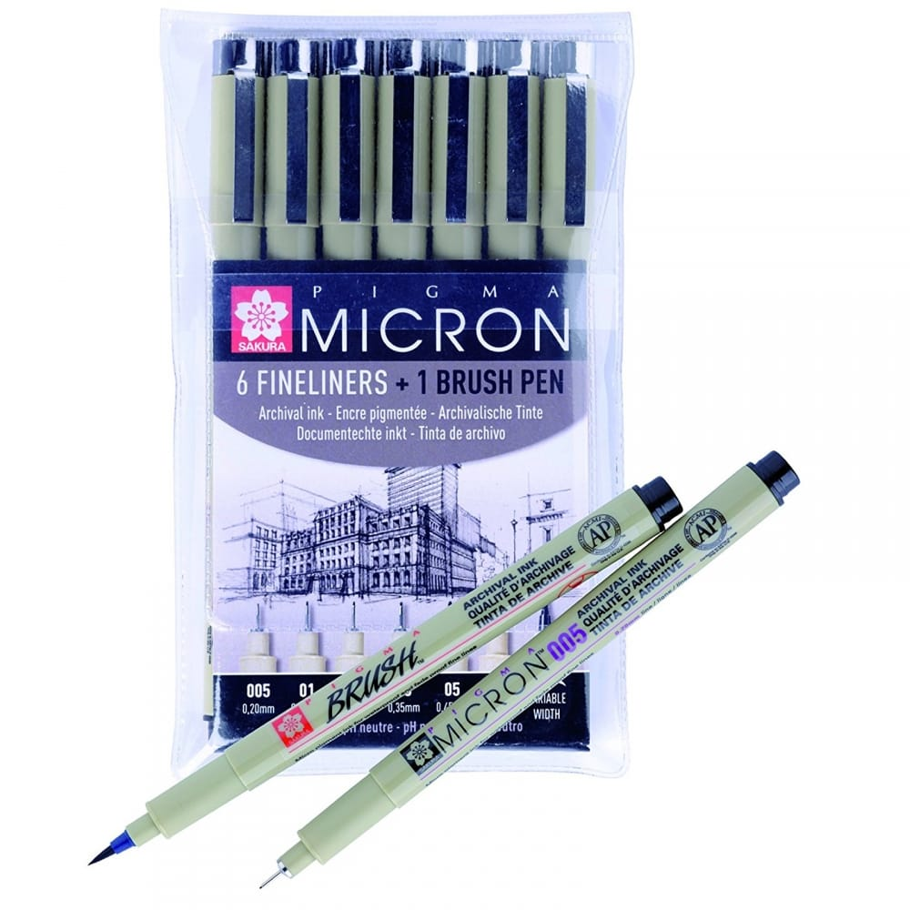 Black Arts And Crafts Supplies 6-Piece Pigma Micron Ink Pen Set