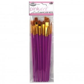 Pinkart Gold Taklon Brushes 10 Pack