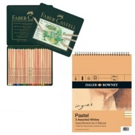 Pitt Pastel Pencil 24 Tin and Pastel Pad Bundle