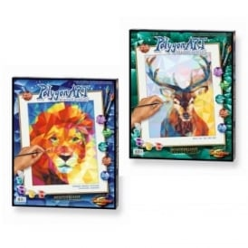 Polygon Art Paint by Numbers Stag and Lion  Bundle