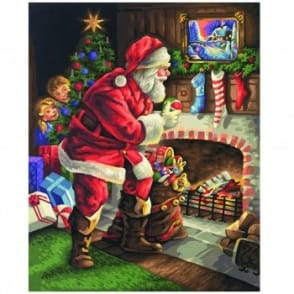 Premium Painting by Numbers Santa - By The Fireplace