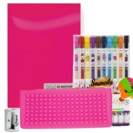 Rainbow Sherbert Case, 10 Smencils, Pad & Sharpener  Bundle