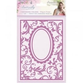 Sara Signature Butterfly Lullaby Collection - Filigree Frame 5x7 Embossing Folder