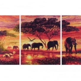 Schipper Triptych Paint By Numbers Africa Elephant Herd