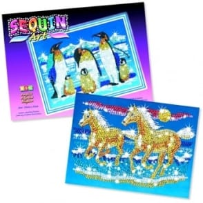 Sequin Art & Beads Penguins and Horses Bundle
