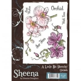 Sheena Douglas Orchids 4 Piece stamp Set
