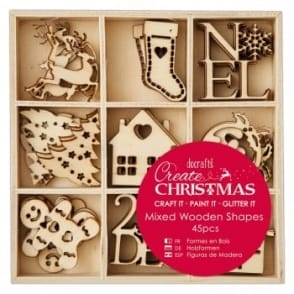Small Mixed Wooden Shapes 45pcs - Christmas Icons