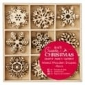 Small Mixed Wooden Shapes 45pcs - Snowflakes Icons