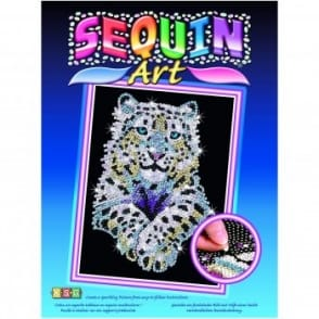 Snow Leopard Sequin Art
