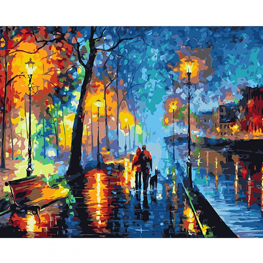 Street Of The Rain Stretched Canvas Extra Large Paint By Numbers Craftyarts Co Uk