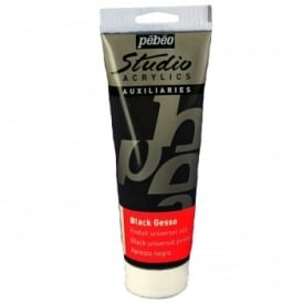 Studio Acrylics Auxiliaries Black Gesso 250ml
