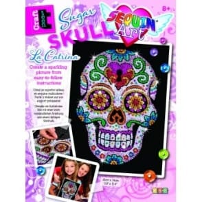 Sugar Skull Sequin Art