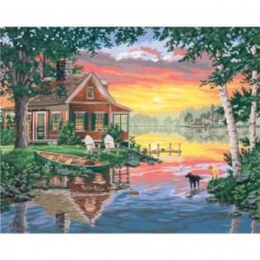 Sunset Cabin Paint by Numbers