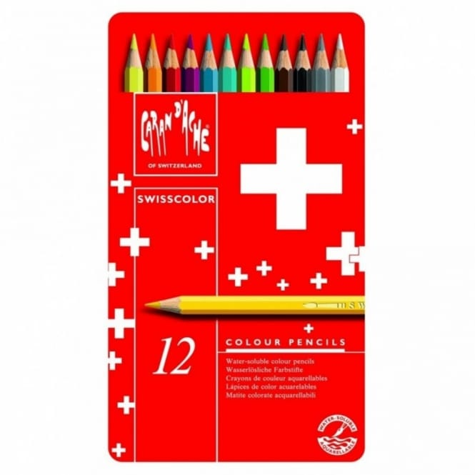 Swisscolor Water Soluble Colouring Pencils 12 Tin