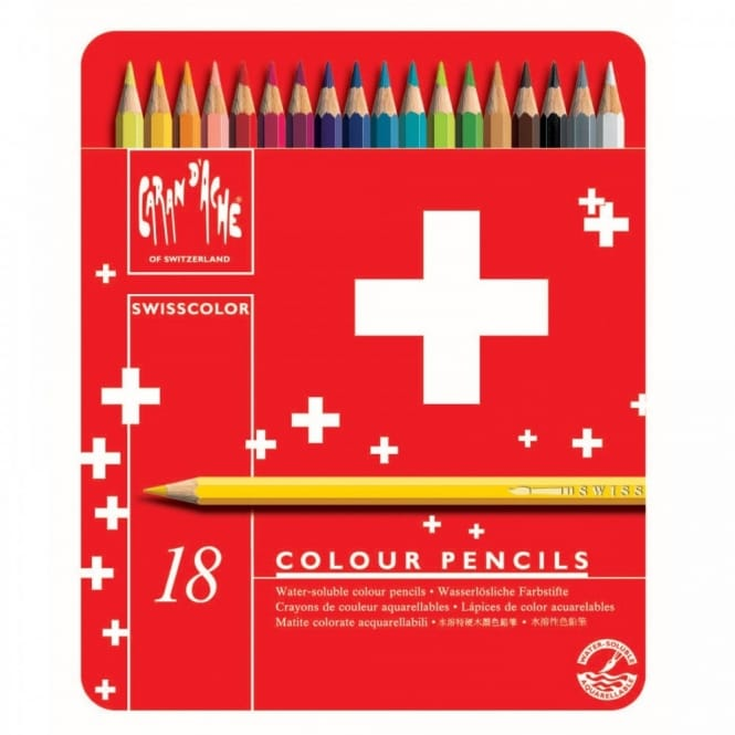 Swisscolor Water Soluble Colouring Pencils 18 Tin