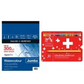 Swisscolour Water Soluble Pencils 30 Tin + Jumbo A4 Pad Bundle