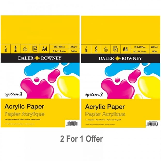 System 3 Acrylic Gummed Pad A4 Twin Pack