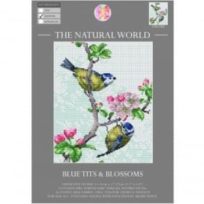 The Natural World Cross Stitch Kit - Blue Tits & Blossoms