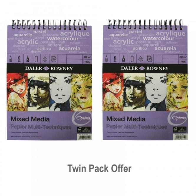 The Optima Mixed Media Spiral Pad Twin Pack A3