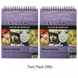 The Optima Mixed Media Spiral Pad Twin Pack A4
