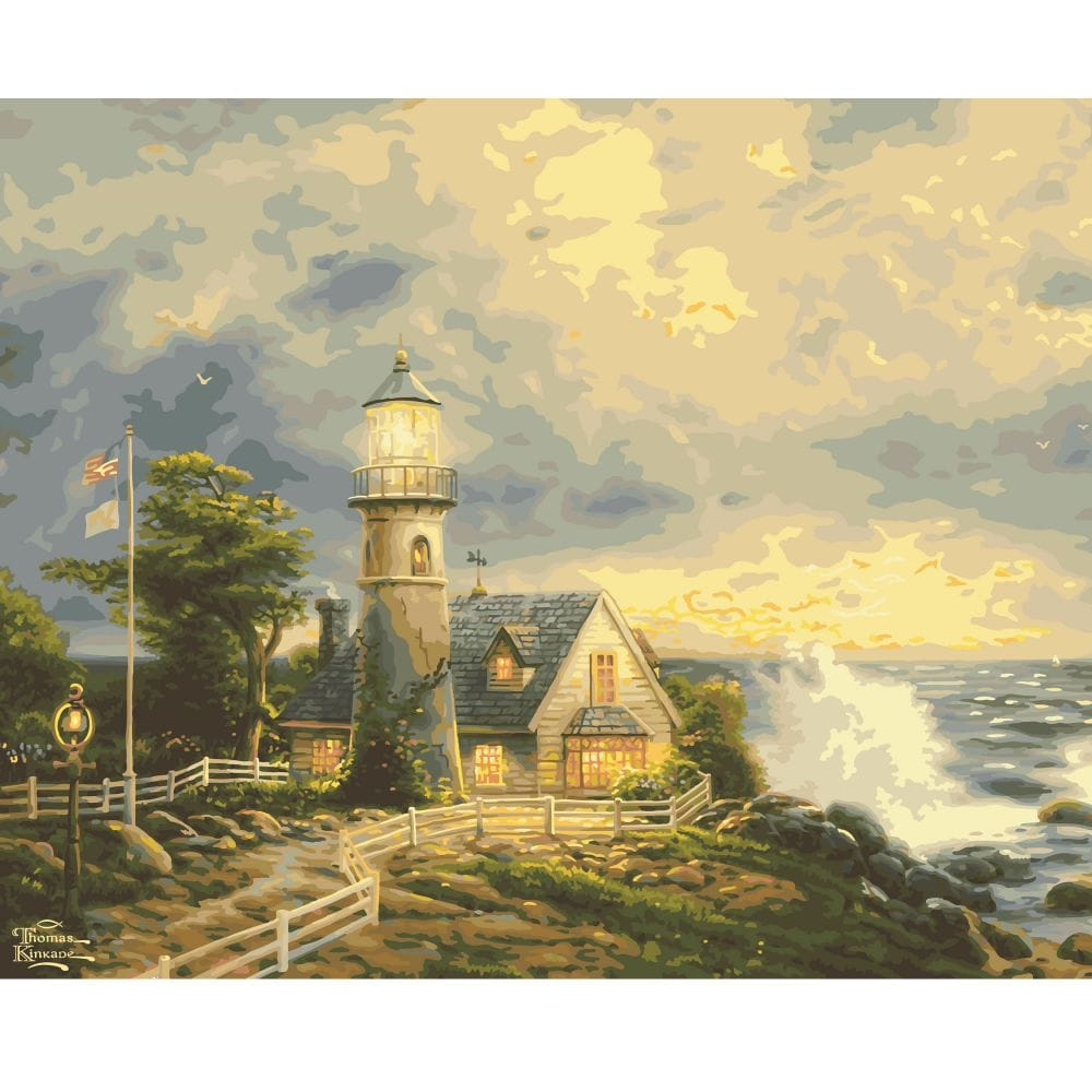 Thomas Kinkade A Light In The Storm Extra Large Paint by Numbers