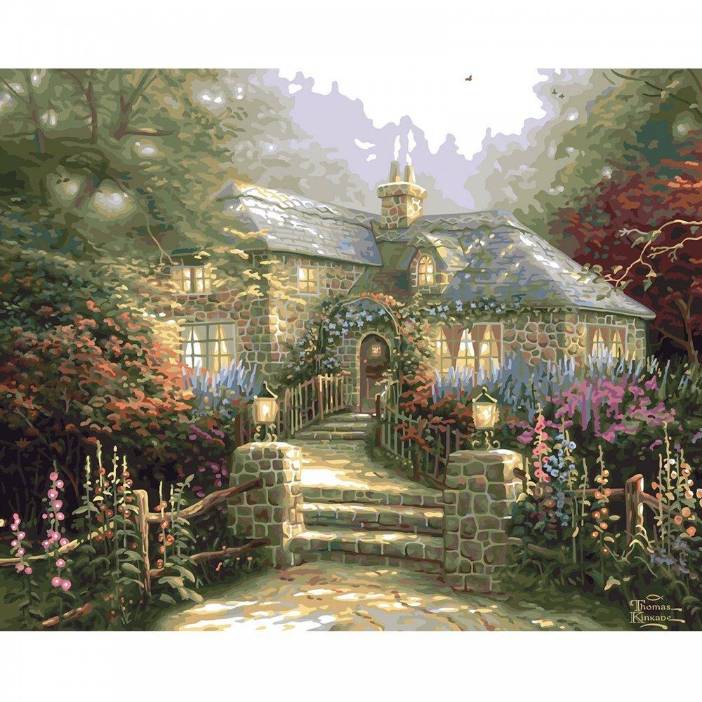 Thomas Kinkade Hollyhock House Paint By Number Plaid