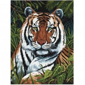 Tiger In Hiding Painting By Numbers