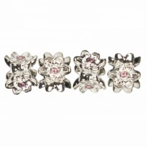 Trinkettes Spacers 4pc Pink Crystal Flower*