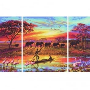 Triptych Paint By Numbers - Africa