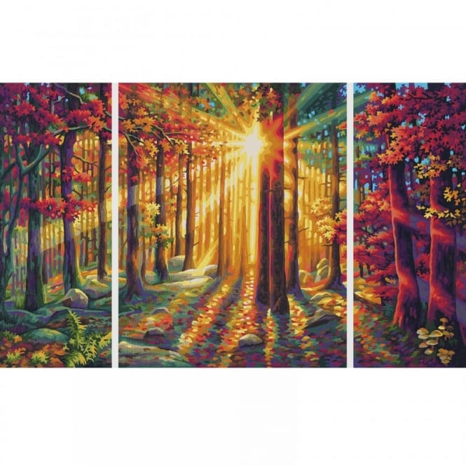 Triptych Paint By Numbers Autumn Forest