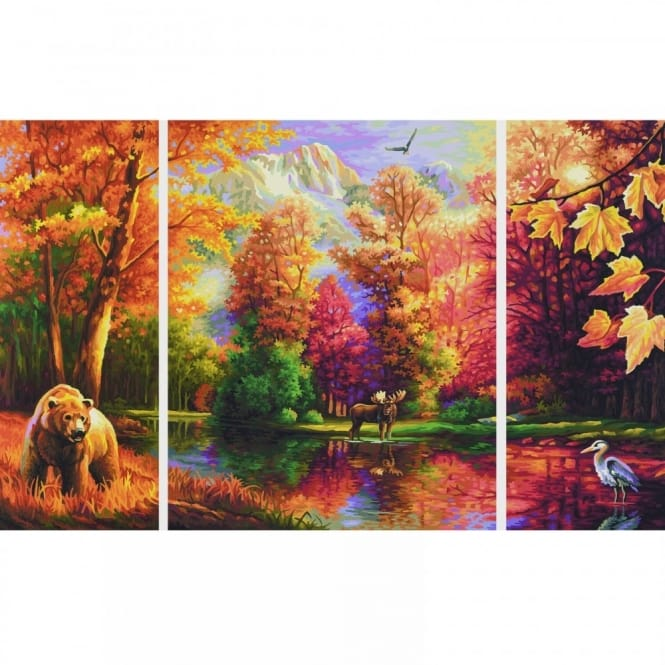 Triptych Paint By Numbers - Indian Summer