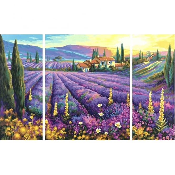 Triptych Paint By Numbers Lavender Fields