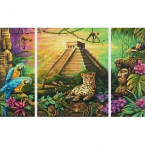 Triptych Paint By Numbers - Mayan Pyramid