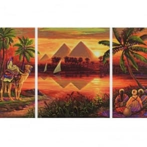 Triptych Paint By Numbers - Pyramids on the Nile