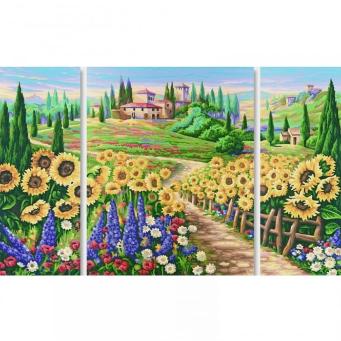 Triptych Paint By Numbers - Summer in the Tuscany