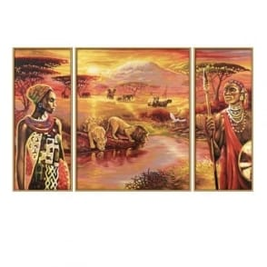 Tryptych Paint by Numbers- Africa Mount Kilimanjaro