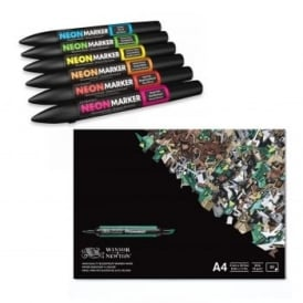Twin-Tipped Neonmarkers 6 Pack and Pad Bundle