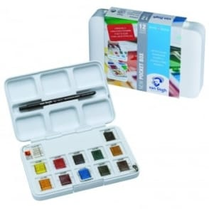 Van Gogh Pocket Watercolour Box - 12 Half Pans & Brush