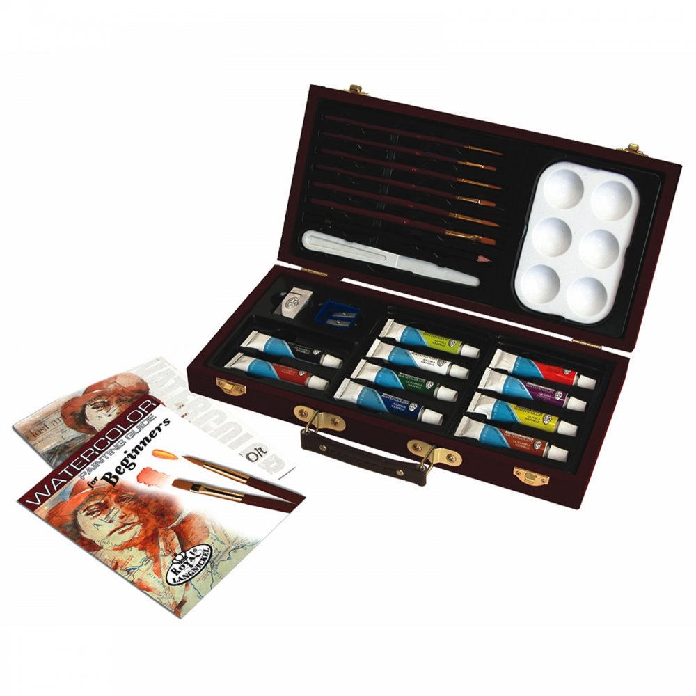 Watercolour painting for beginners wooden box royal for Watercolor supplies for beginners