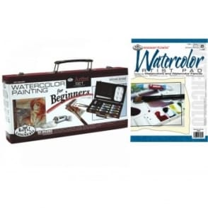 Watercolour Painting for Beginners Wooden Box + Pad Bundle