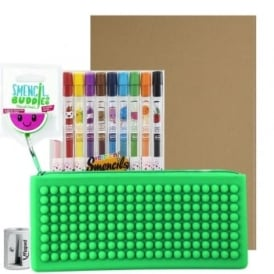 Watermelon Case, 10 Smencils, A4 Pad & Sharpener Bundle