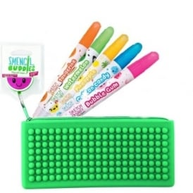 Watermelon Pencil Case with 5 Scented Gel Crayons Bundle